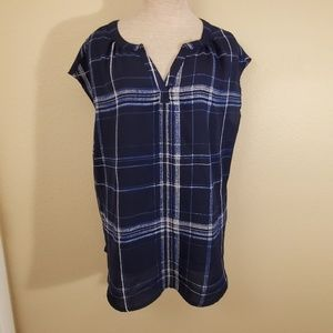 Very J blue white tank blouse L